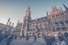 Munich, Germany - Janurary 20, 2017: The Marienplatz is a centra Stock Photography