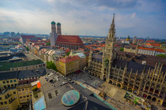 Munich, Germany - July 30, 2015: Spectacular image showing beautiful city hall building, taken from high up overlooking Stock Photo