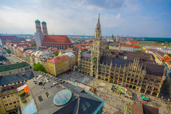 Munich, Germany - July 30, 2015: Spectacular image showing beautiful city hall building, taken from high up overlooking Stock Images