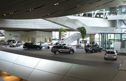 MUNICH, GERMANY - JUNE 1, 2012 : BMW cars presented at BMW World showroom in Munich, Germany Royalty Free Stock Photography