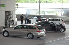 MUNICH, GERMANY - JUNE 1, 2012 : BMW cars presented at BMW World showroom in Munich, Germany Stock Photography