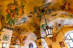Munich, Germany - June 14, 2018: Interior of famous Hofbrauhaus pub in Munich. Royalty Free Stock Photos