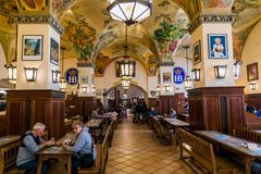 Munich, Germany - June 14, 2018: Interior of famous Hofbrauhaus pub in Munich. Royalty Free Stock Images