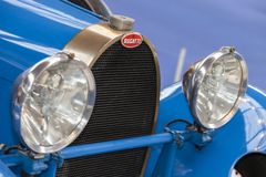 Front detail of classic car, Bugatti. Munich, Germany, 29 Juni 2014: Front detail of classic car Royalty Free Stock Photography