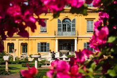 MUNICH, Germany: The Lenbachhaus Museum, View from the Garden with Pink Flowers royalty free stock photo