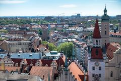 MUNICH, Germany - May 5, 2018: Aerial Panorama of the Old and New City, with Town Hall and Church royalty free stock photography