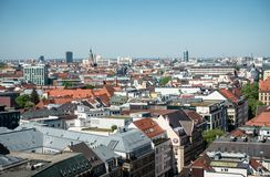 MUNICH, Germany - May 5, 2018: Aerial Panorama View from the Top of Munich City Center with copy space stock images