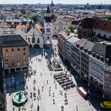 MUNICH, Germany - May 5, 2018: Aerial Scenic View from the Altes Rathaus, Marienplatz, Munich City Center stock photos