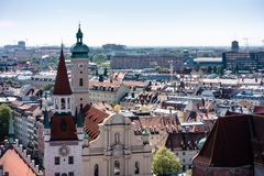MUNICH, Germany - May 5, 2018: Aerial Scenic View from the Top of the Altes Rathaus on Old and New City. Copy space stock image