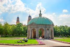 Munich, Germany - May 8, 2013: Diana temple in Hofgarten park of Munich in spring, Germany. Munich, Germany - May 8, 2013: Diana temple in Hofgarten park of royalty free stock photos