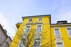 Munich, Germany - May 03, 2017: The facade of Krone Hotel building Stock Photos
