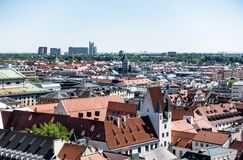MUNICH, Germany - May 5, 2018: Interesting Panorama View of Munich City Center, with Historical and Modern Buildings. Copy Space royalty free stock images