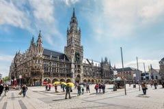 Marienplatz Square in Munich, Bavaria, Germany. Munich, Germany - May 29, 2016: The Marienplatz is a central square in the city centre of Munich, Germany. It has Royalty Free Stock Photography