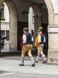 Men wearing the traditional Bavarian costume Royalty Free Stock Image