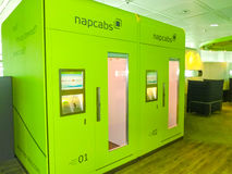Munich, Germany -May 16, 2016: Napcab sleeping cabins at the airport. With 38 millions passengers per year it is one of the most important airport in Europe stock photos