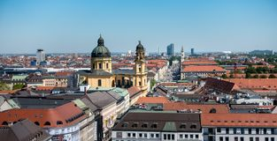MUNICH, Germany - May 5, 2018: Scenic View from the Top of Munich City Center stock photography