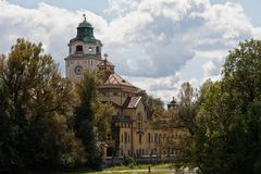Munich, Germany: The Mueller`sche Volksbad located at the river Isar royalty free stock image