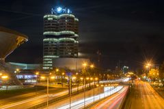 MUNICH, GERMANY - November 3, 2017: BMW Welt and tower at night Royalty Free Stock Images