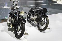 Exhibition and achievements of the exhibits of the legendary models of cars and motorcycles in the BMW Museum. stock photos