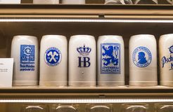 Expositions at the Museum of the Oktoberfest festival mugs, bottles history of celebration. stock photo