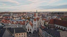 MUNICH, GERMANY - November 25, 2019: Real time establishing shot of old town hall on Marienplatz in Munich. Marienplatz stock video