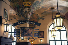 MUNICH, GERMANY - OCT 1: The beer hall Hofbrauhaus during Oktoberfest on October 1 2014 in Munich, Germany. It is one of the biggest beer hall in Munich royalty free stock photography