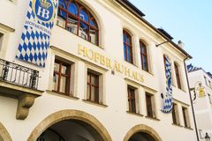 MUNICH, GERMANY - OCTOBER 14, 2017: Facade of main beer restaurant Hofbrauhaus. With authentic sign stock image