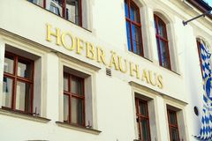 MUNICH, GERMANY - OCTOBER 14, 2017: Facade of main beer restaurant Hofbrauhaus. With authentic sign royalty free stock photos