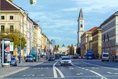 Ludwigstrasse and St.Ludwig church, Munich, Germany. Munich, Germany - October 25, 2017:  Ludwigstrasse and St.Ludwig church as seen from Odeonsplatz Royalty Free Stock Photos