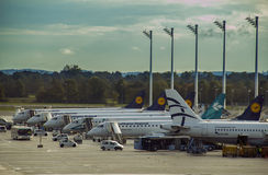 Munich, Germany - October 16: One side of Lufthansa parking apro Stock Photography