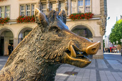 Munich, Germany - October 16, 2011: Statue bronze boar. Royalty Free Stock Photography