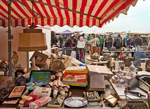 MUNICH Germany -  Open air giant flea market. Market stall at open air giant flea market  in Munich, the biggest flea market of Bavaria,it happens for one single Royalty Free Stock Photos