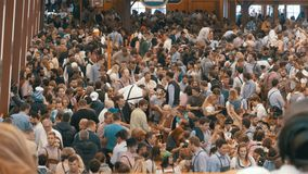 Celebration of Oktoberfest in large beer tent. Bavaria, Germany