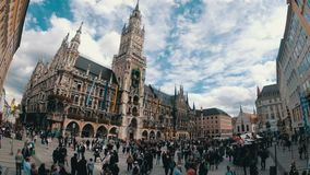 Marienplatz, Germany. View of the new Town Hall on a background of clouds and blue sky. Time Lapse stock video footage