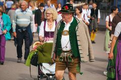 Munich, Germany-September 27, 2017: Old man hat and traditional bavarian clothes on the Oktoberfest.  stock image