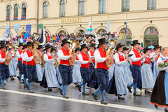 Munich, Germany, September 18, 2016: The Traditional Costume Parade during Octoberfest 2016 in Munich. German people wearing traditional costumes marching Royalty Free Stock Photo