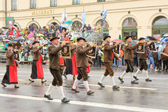 Munich, Germany, September 18, 2016: The Traditional Costume Parade during Octoberfest 2016 in Munich. German people wearing traditional costumes marching Royalty Free Stock Images
