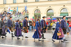 Munich, Germany, September 18, 2016: The Traditional Costume Parade during Octoberfest 2016 in Munich. German people wearing traditional costumes marching Royalty Free Stock Image