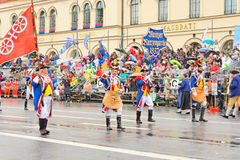 Munich, Germany, September 18, 2016: The Traditional Costume Parade during Octoberfest 2016 in Munich. German people wearing traditional costumes marching Stock Photography