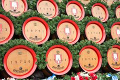 Traditional wooden beer barrels at the Oktoberfest royalty free stock photos