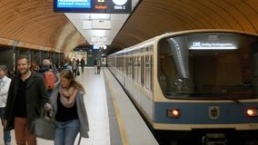 Underground metro in Munich. The train is moving in the subway. MUNICH, GERMANY, SEPTEMBER 15, 2017: Underground metro in Munich. The train is moving in the stock video footage