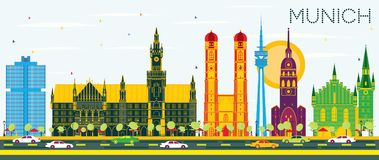 Munich Germany Skyline with Color Buildings and Blue Sky. Vector Illustration. Business Travel and Tourism Concept with Historic Architecture. Munich Cityscape Stock Image