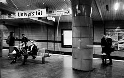 Munich, Germany - Subway Universitaet station night time Stock Photos