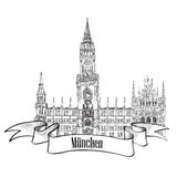 Munich, Germany.  Travel label  illustration. Munich label. Rathause, New Town Hall, Munich, Germany. Hand drawing  illustration Stock Images