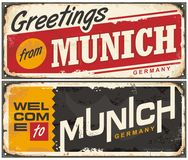 Munich Germany travel souvenir sign. Concept. Greetings from Munich. Welcome to Munich Stock Photo