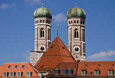 Munich, Germany  - the twin towers of Frauenkirche, famous landm Stock Photos
