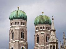Munich, Germany -  view of the two clock towers of the Frauenkir Royalty Free Stock Photo