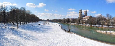 Munich (Germany) in winter. Sankt Maximilian church on Isar river bank in Munich in winter stock photo