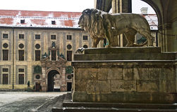 Munich, Germany - winter view of Odeonsplatz with Residenz palac Royalty Free Stock Photo