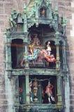 Munich Glockenspiel. Historic scene of the Glockenspiel in Marienplatz, Munich, Germany Stock Image